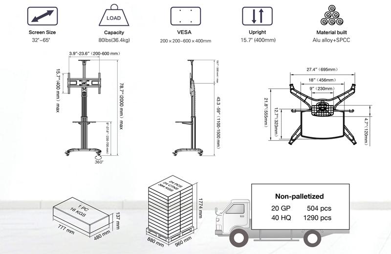 gia-treo-tivi-di-dong-nb-avf-1500-50-1p-TV Cart AVF1500-50-1P