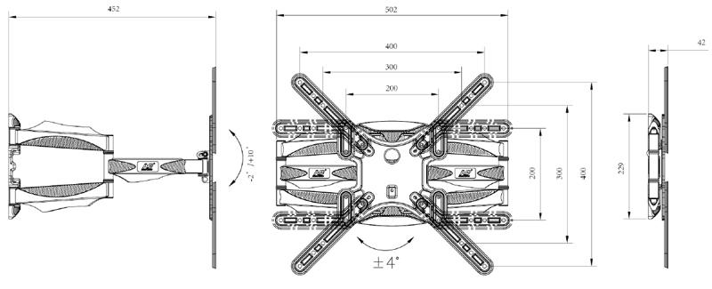 gia-treo-tivi-xoay-goc-NB-P5 32 60 inch